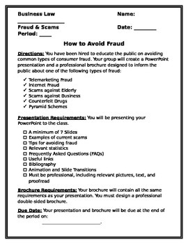 Fraud Research Project and Brochure