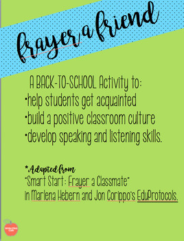 Frayer A Friend: Listening & Speaking Your Way to a Positive Classroom Culture