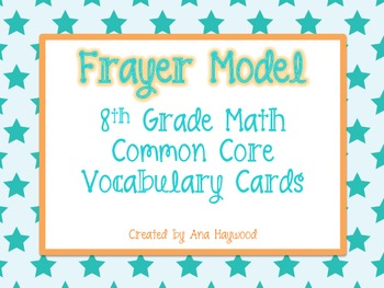 Frayer Model 8th Grade Math Common Core Vocabulary Cards