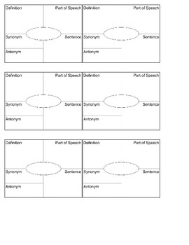Frayer Model Printable For Six Vocabulary Words Fits In Composition Books