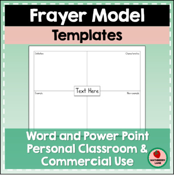 blank frayer model template Frayer Model Template Editable Classroom or Commercial Freebie | TpT