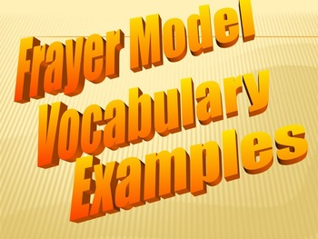 Frayer Model Vocabulary Examples (Vocabulary they will LIKE and USE)