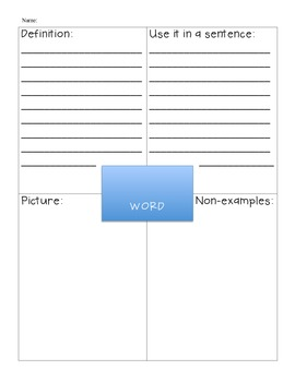 Frayer Model- Vocabulary Organizer