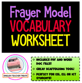 Frayer Model Vocabulary Worksheet Graphic Organizer ELL, E