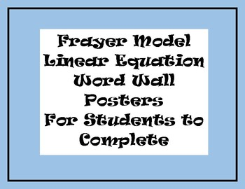 Frayer Model Word Wall Linear Equation & Systems Vocabulary Posters & Booklet