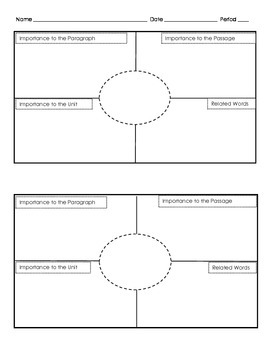 Frayer Models for Vocabulary- Two to a Page
