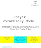 Frayer Vocabulary Model Digital Graphic Organizer