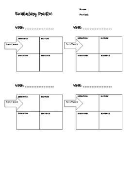 Frayer Vocabulary Practice Handout