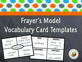 Frayer's Model Vocabulary Card Templates