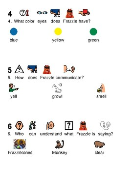 Frazzle - Sesame Street character lesson picture supported text with questions