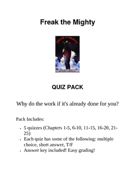 Freak The Mighty Quiz Pack