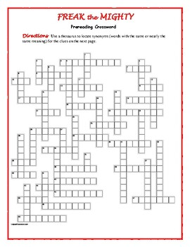 Freak the Mighty: 50-word Prereading Crossword--Use with Bookmarks Plus!