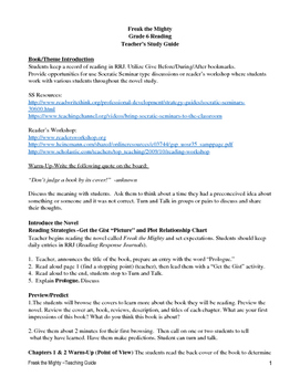 Freak the Mighty 5th/6th Grade Book Study Guide