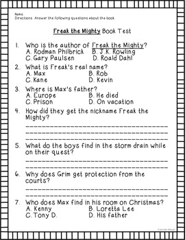 Freak the Mighty Book Test