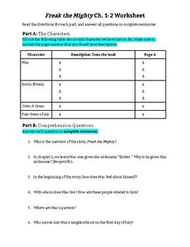 Freak the Mighty Ch. 1-2 Worksheet