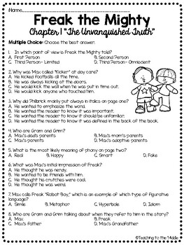 Freak the Mighty Chapter 1 Reading Comprehension Worksheet; Realistic Fiction