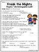 Freak the Mighty Chapter 1 Reading Comprehension Worksheet