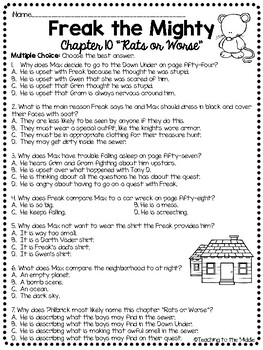 Freak the Mighty Chapter 10 Reading Comprehension Worksheet; Realistic Fiction