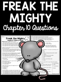 Freak the Mighty Chapter 10 Reading Comprehension Workshee