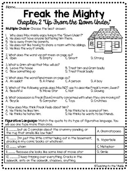 Freak the Mighty Chapter 2 Reading Comprehension Worksheet; Realistic Fiction