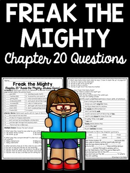 Freak the Mighty Chapter 20 questions, Philbrick, Comprehension