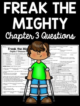 Freak the Mighty Chapter 3 Reading Comprehension Worksheet; Realistic Fiction