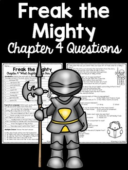 Freak the Mighty Chapter 4 Reading Comprehension Worksheet