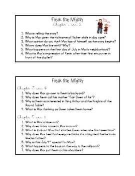 Freak the Mighty - Chapter Questions