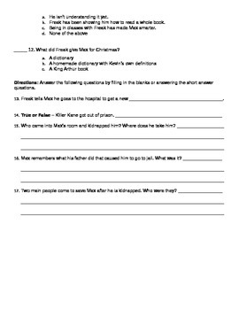 Freak the Mighty Chapters 1-20 Quiz