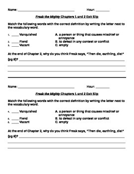 Freak the Mighty Chapters 1 and 2 Exit Slip