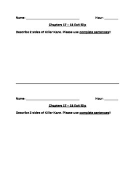 Freak the Mighty Chapters 17 – 18 Exit Slip