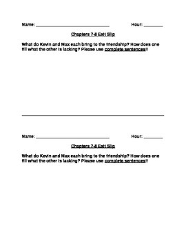 Freak the Mighty Chapters 7-8 Exit Slip