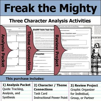 Freak the Mighty - Character Analysis Packet, Theme Connections, & Project