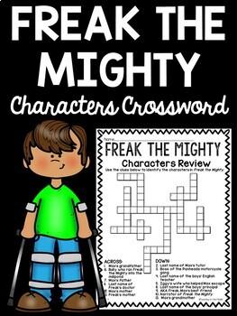 Freak the Mighty Characters Crossword Puzzle Rodman Philbrick