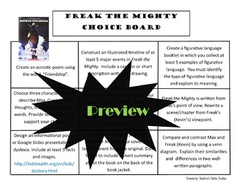 Freak the Mighty Choice Board Novel Study Activities Menu Book Project Rubric