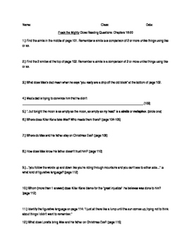 Freak the Mighty Close Reading Questions Chapters 11-15