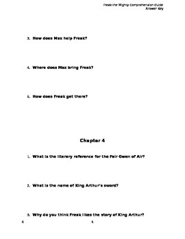Freak the Mighty Comprehension Guide