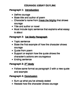 Freak the Mighty:  Courage Essay Outline