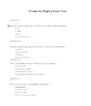 Freak the Mighty FINAL Book Test