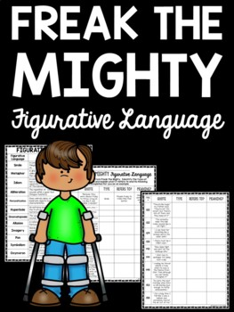 Freak the Mighty by Rodman Philbrick Figurative Language Chart