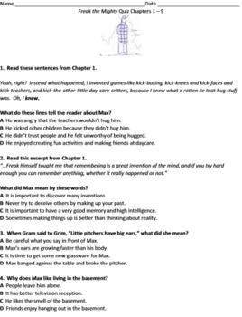Freak the Mighty Free Quiz Common-Core Aligned