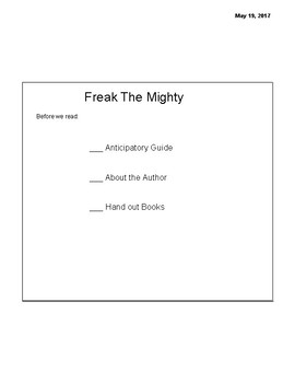 Freak the Mighty Full book PDF version of Smart Notebook- full book presentation