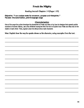 Freak the Mighty Guided Reading Packet