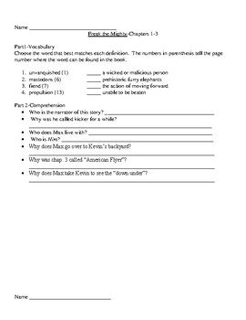 Freak the Mighty Guided Reading Unit Level W