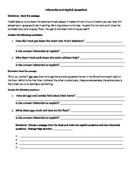 Freak the Mighty Inferential and Explicit Questions Activity