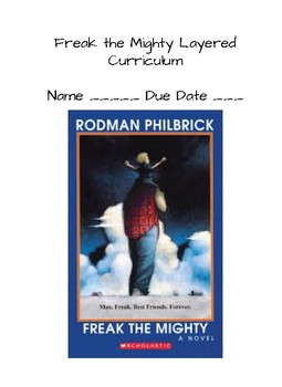 Freak the Mighty Layered Curriculum