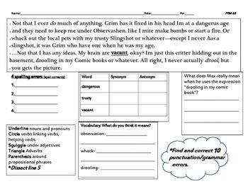 Freak the Mighty Lesson 2- Common Core (grades 5-8)