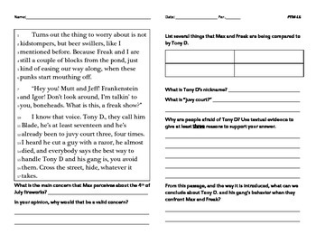 Freak the Mighty Lesson 6- Common Core (grades 5-8)