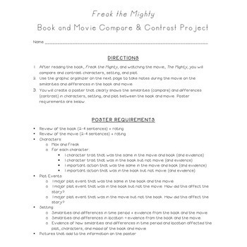 Freak the Mighty: Movie Compare/Contrast Project