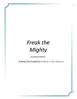 Freak the Mighty Novel Unit Plus Grammar